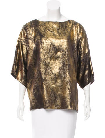 Michael Kors Metallic Silk Top None