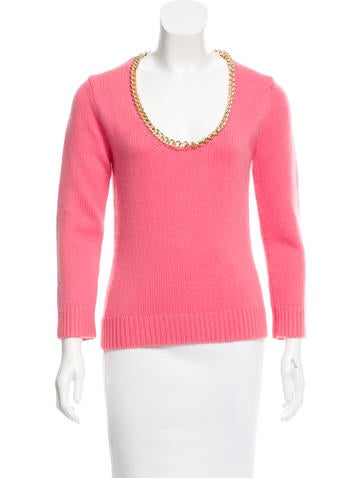 Michael Kors Chain-Link-Embellished Cashmere Sweater None