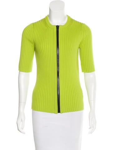 Michael Kors Rib Knit Zip-Up Top None
