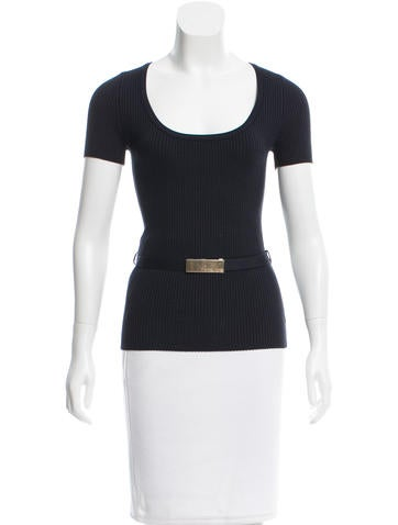 Michael Kors Belted Silk Top None