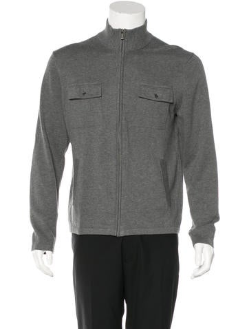 Michael Kors Woven Zip-Up Sweater None
