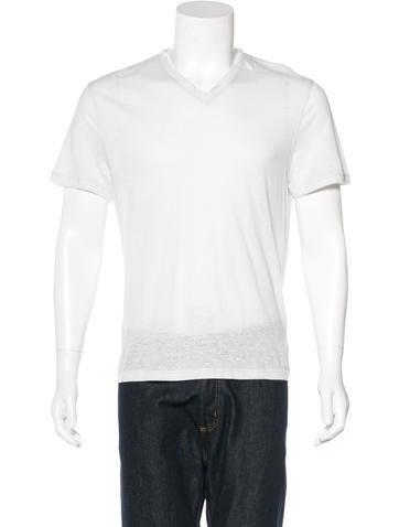 Michael Kors Linen-Blend V-Neck T-Shirt w/ Tags None