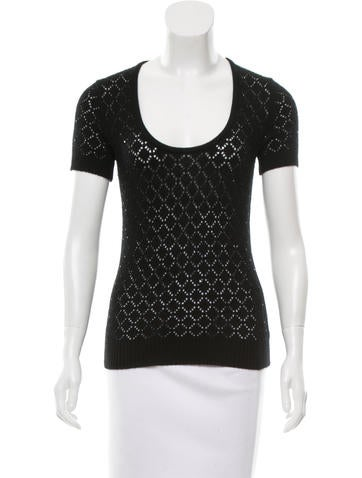 Michael Kors Embellished Open-Knit Top None