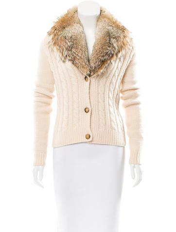 Michael Kors Cashmere Fur-Accented Cardigan None