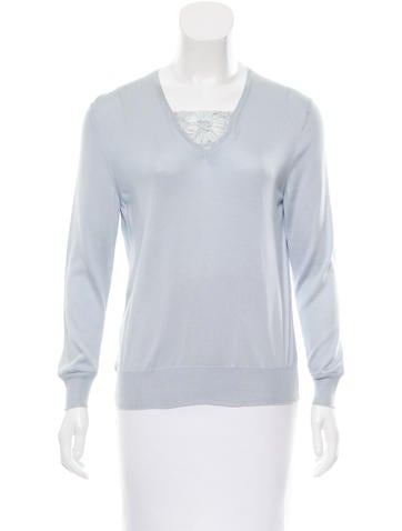 Michael Kors Lace-Accented Long Sleeve Top None
