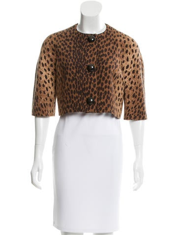 Michael Kors Wool Cheetah Print Bolero None