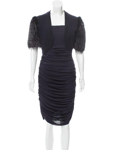 Michael Kors Fur-Trimmed Bolero Dress Set None