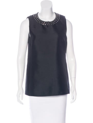 Michael Kors Studded Wool & Silk-Blend Top None