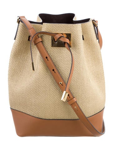 Michael Kors Miranda Straw Bucket Bag