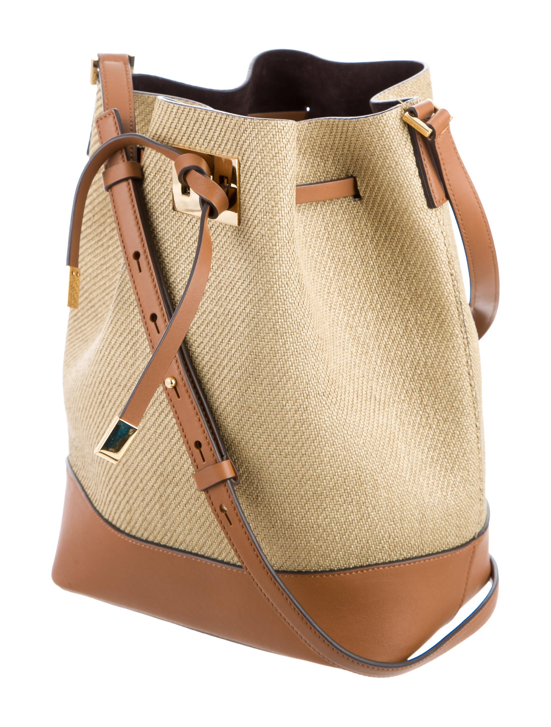 Michael Kors Miranda Straw Bucket Bag on Chocolate Brown Living Room