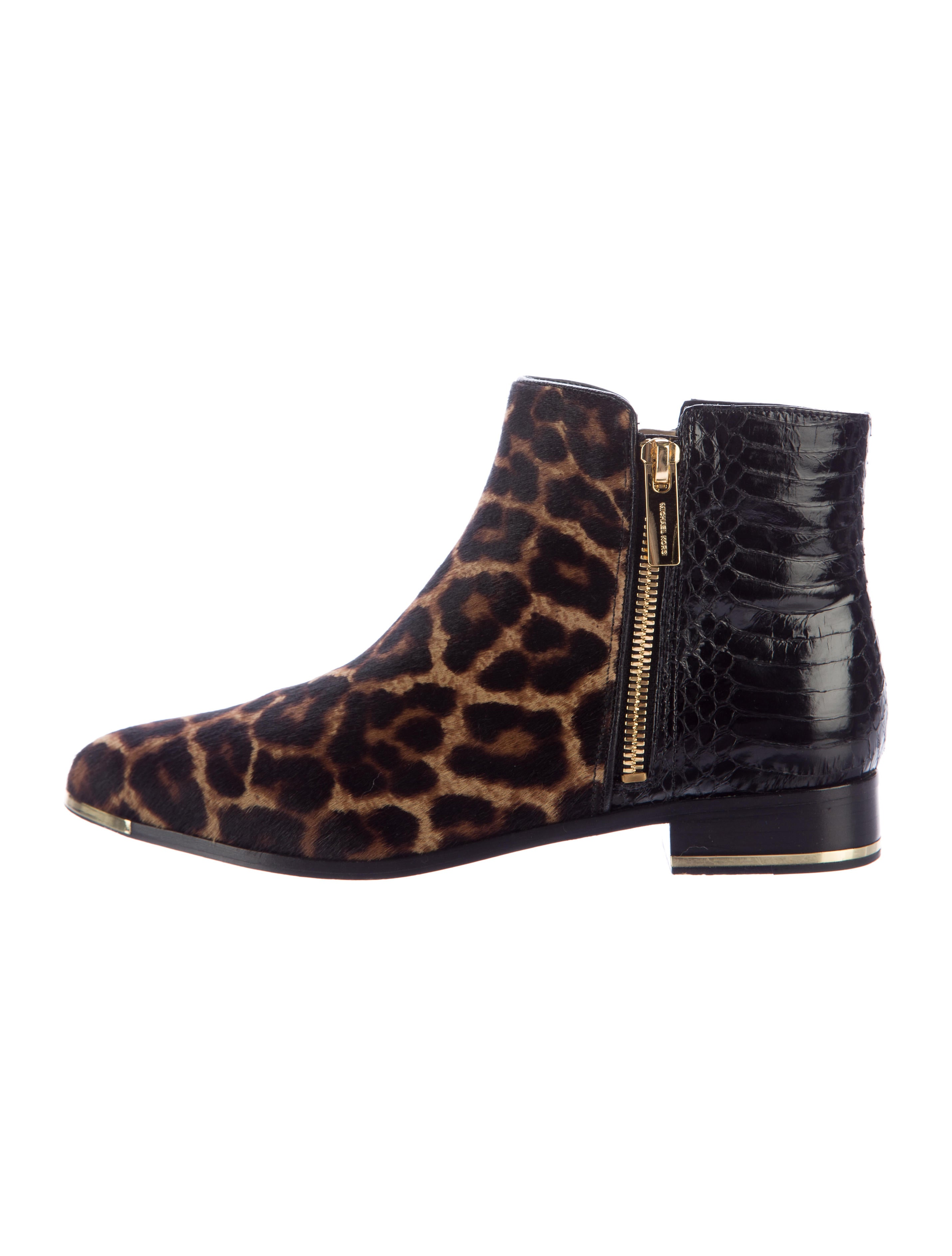 michael kors collection cindra leopard print ankle boots