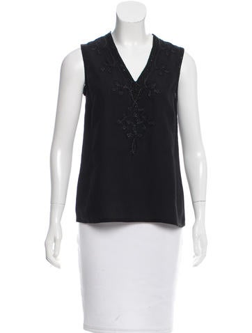 Michael Kors Collection Embellished Sleeveless Top None
