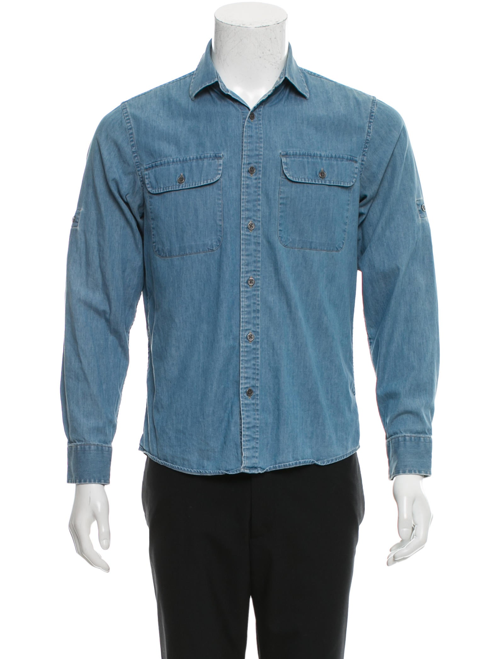 Michael kors tailored fit denim shirt clothing for Tailored fit dress shirts