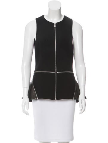 Michael Kors Leather-Accented Wool Top None