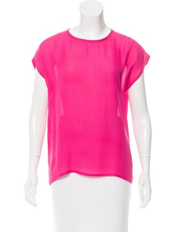 Michael Kors Short Sleeve Silk Top None