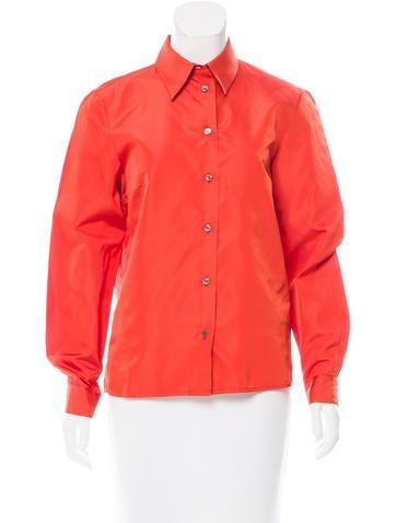 Michael Kors Silk Button-Up Top None