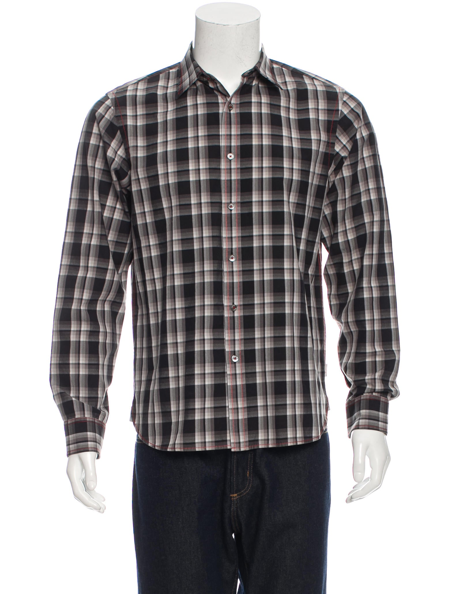 michael kors plaid button up shirt clothing mic50478 the realreal. Black Bedroom Furniture Sets. Home Design Ideas