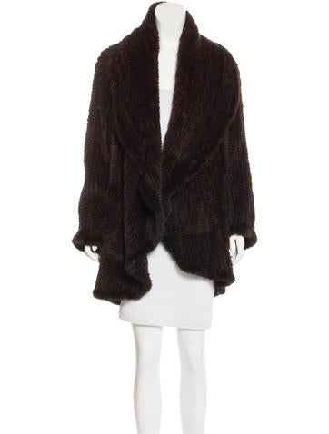 Michael Kors Knit Mink Fur Coat None