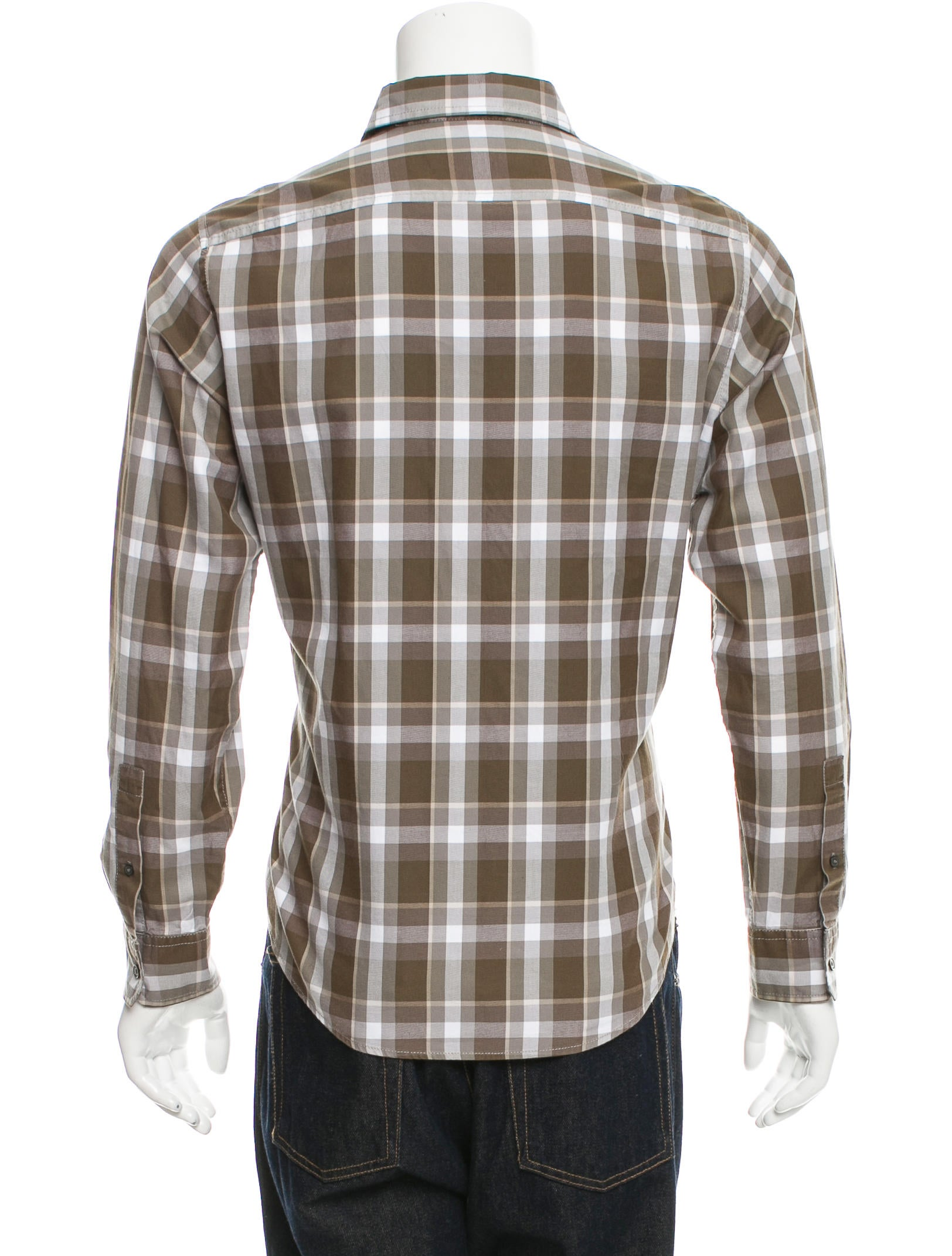 Michael kors plaid button up shirt clothing mic51518 for White shirt brown buttons