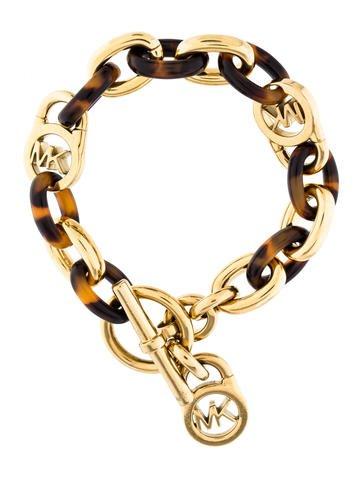 Michael kors tortoise shell link bracelet bracelets for Real tortoise shell jewelry