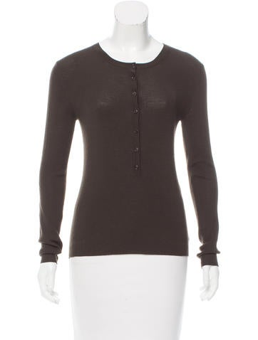 Michael kors knit long sleeve henley top clothing for Best henley long sleeve shirts