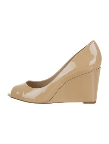 Michael Kors Patent Leather Peep-Toe Wedges None