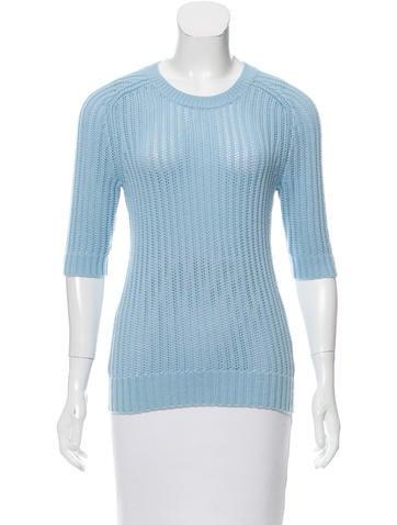 Michael Kors Open-Knit Short Sleeve Sweater None