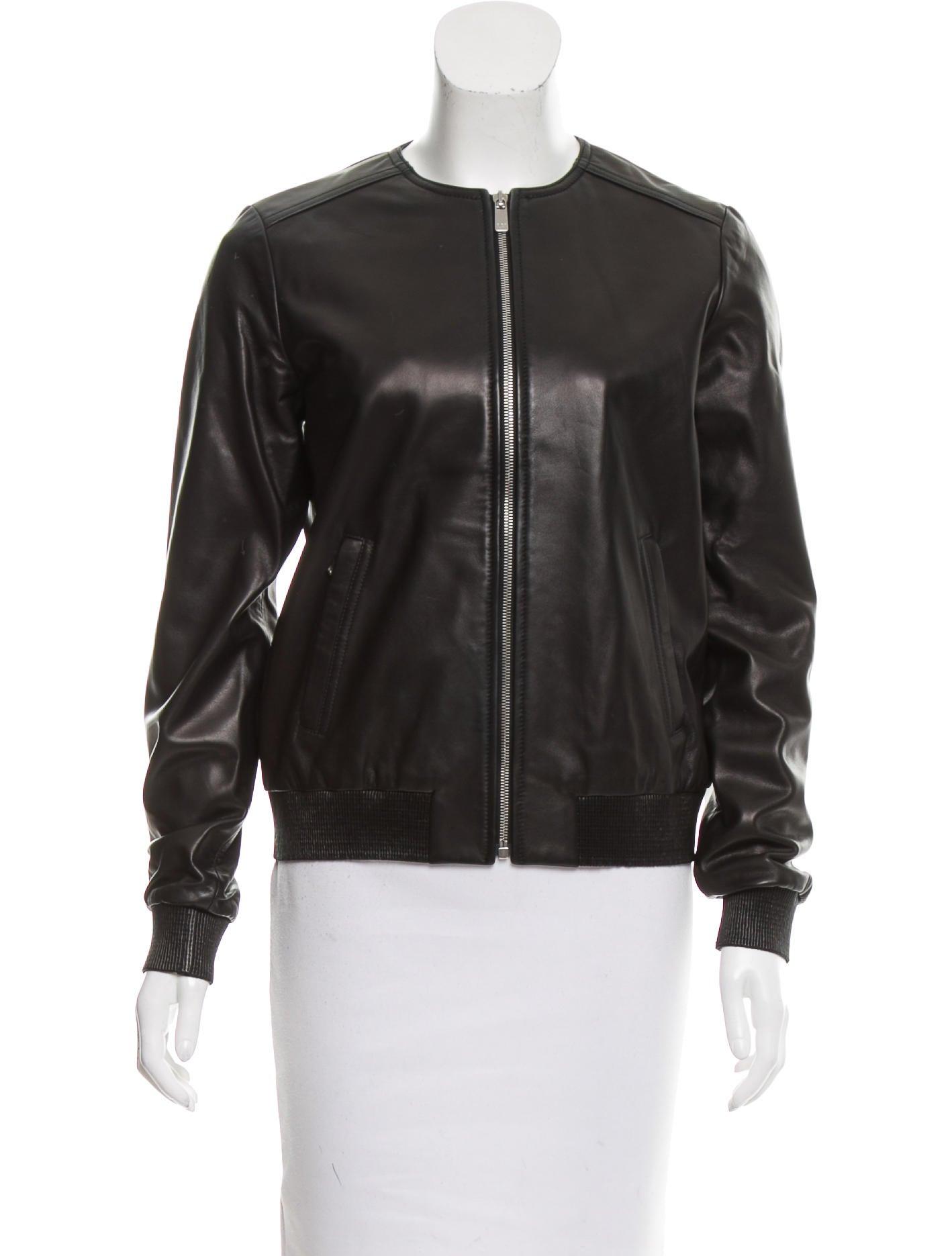 Leather jacket collarless