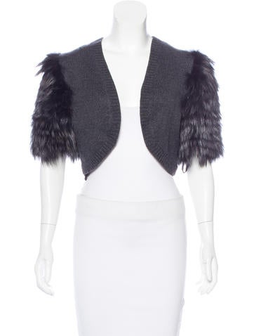 Michael Kors Fox Fur-Trimmed Cashmere Shrug w/ Tags None