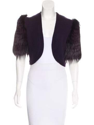 Michael Kors Fur-Accented Cashmere Shrug w/ Tags None