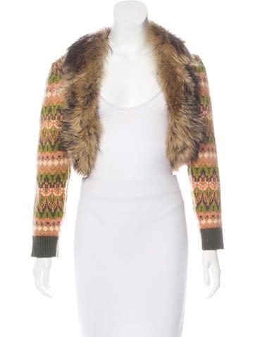 Michael Kors Fox Fur-Trimmed Cashmere Cardigan None