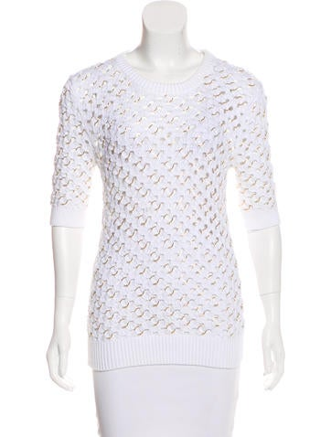 Michael Kors Ring-Accented Open Knit Sweater None