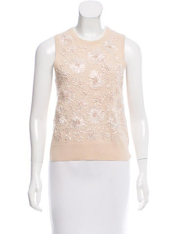 Michael Kors Embellished Cashmere Top None