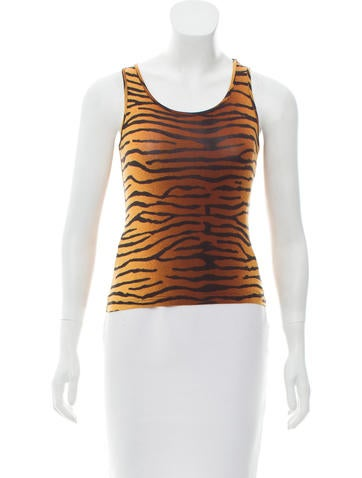 Michael Kors Tiger Print Sleeveless Top None