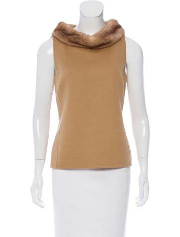 Michael Kors Wool Fur-Trimmed Top None