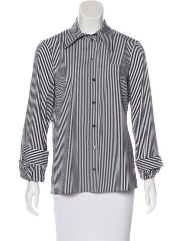 Michael Kors Striped Button-Up Top None
