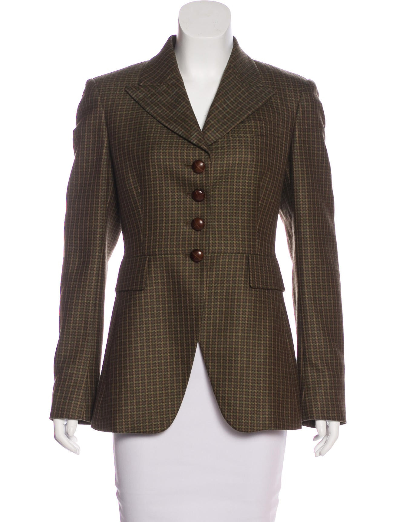 michael kors peak lapel check blazer clothing mic56298 the realreal. Black Bedroom Furniture Sets. Home Design Ideas