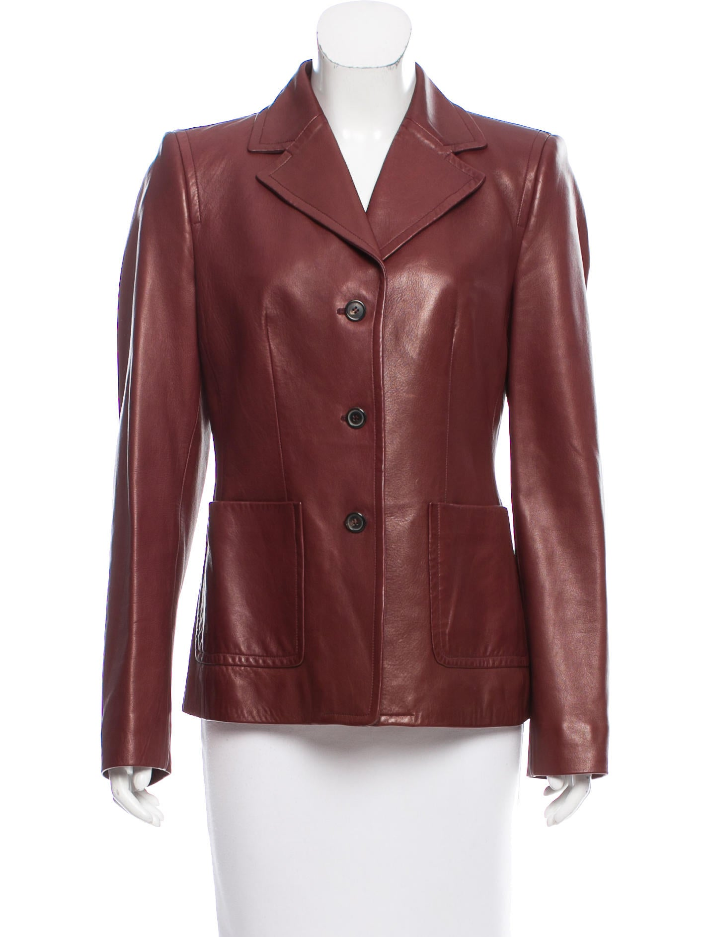 michael kors structured leather blazer clothing mic56631 the realreal. Black Bedroom Furniture Sets. Home Design Ideas