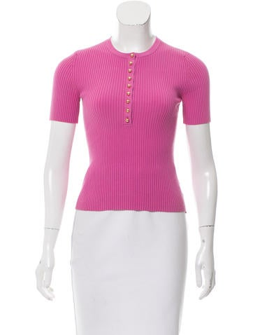 Michael Kors Ribbed Button-Up Sweater None