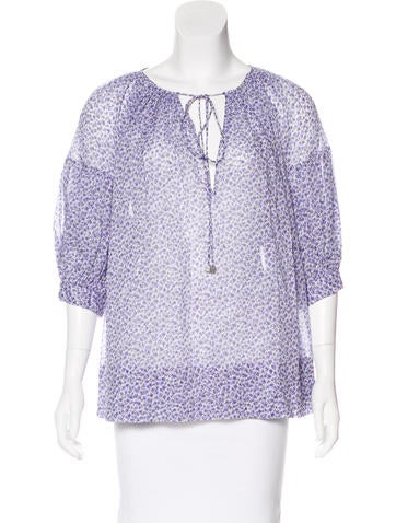 Michael Kors Printed Button-Up Top w/ Tags None