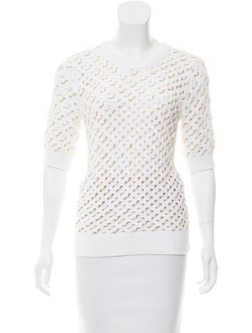 Michael Kors Embellished Short Sleeve Sweater None