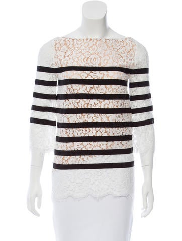Michael Kors Grosgrain-Accented Lace Top w/ Tags None