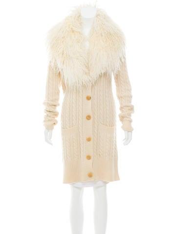 Michael Kors Cashmere Fur-Trimmed Cardigan None