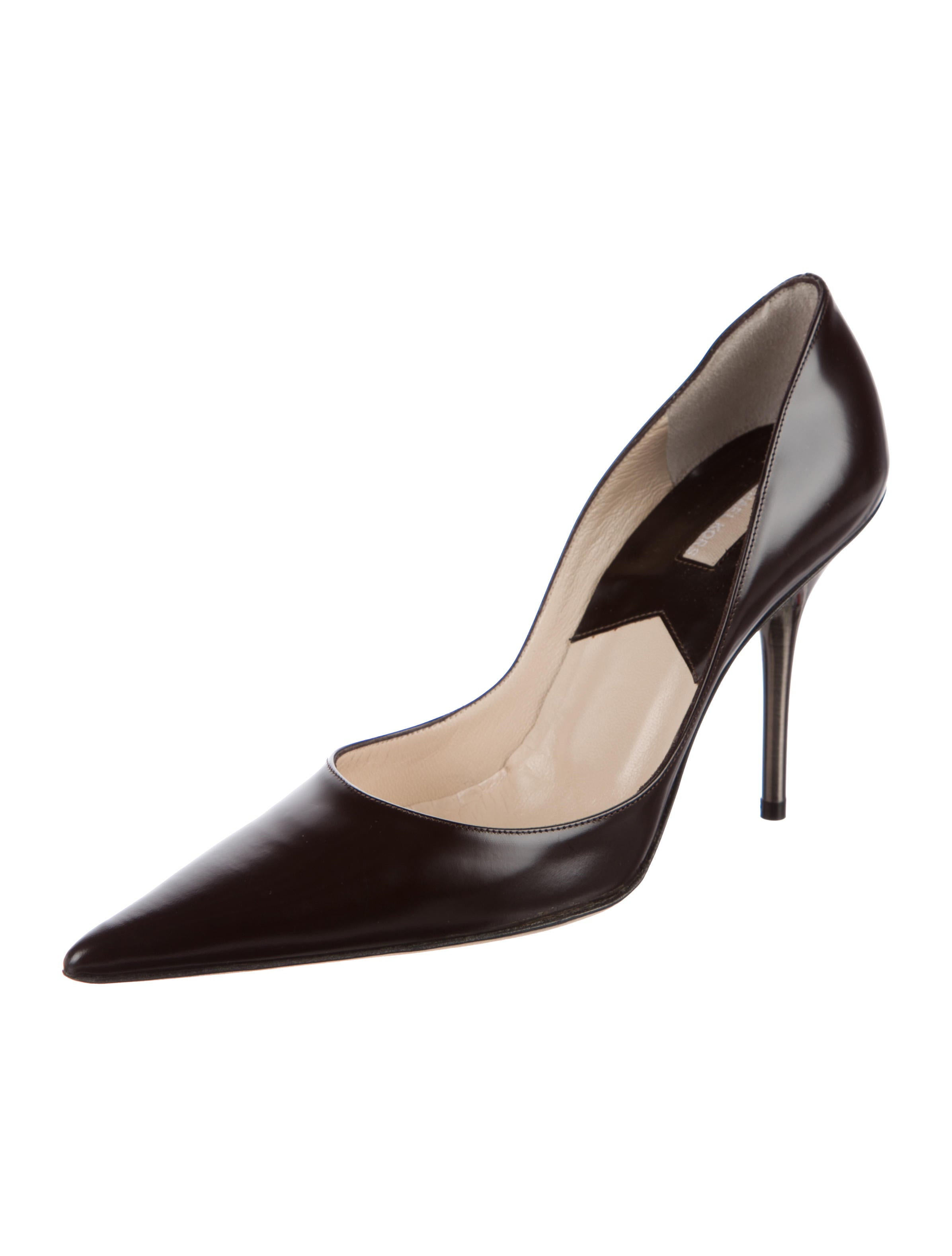 michael kors leather pointed toe pumps shoes mic58936 the realreal. Black Bedroom Furniture Sets. Home Design Ideas