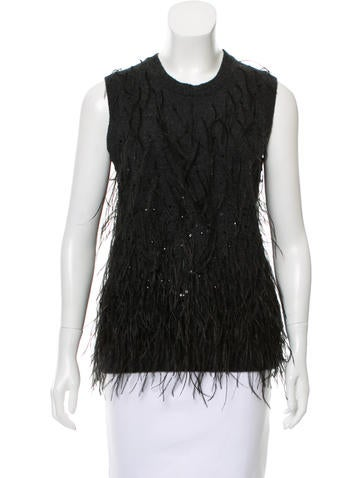 Michael Kors Feather-Accented Cashmere Top None