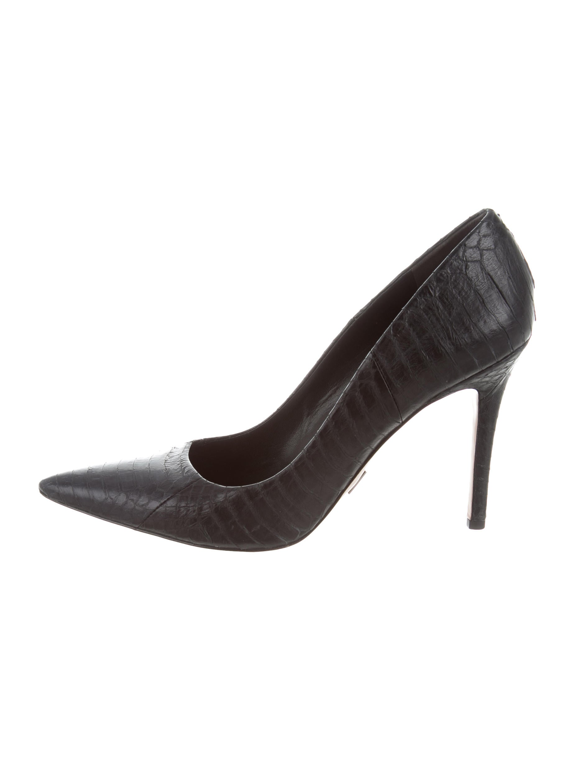Michael Kors Aarons Womens Black Snake Heels Shoes