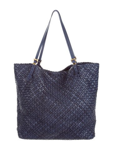 Michael Kors Large Hutton Woven Leather Tote None