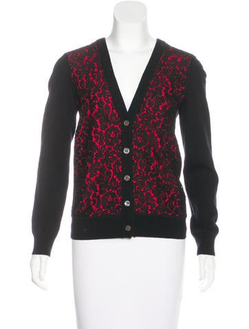 Michael Kors Cashmere Lace-Accented Cardigan None