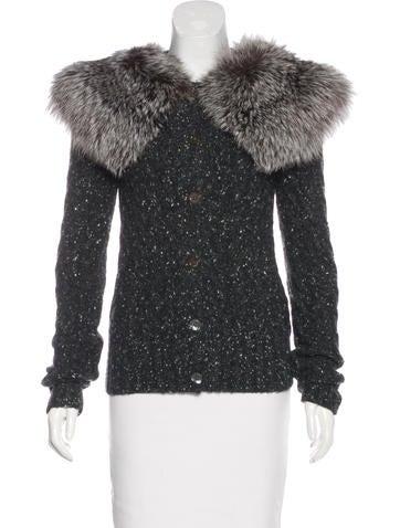 Michael Kors Cashmere & Fox-Fur Trimmed Cardigan w/ Tags None