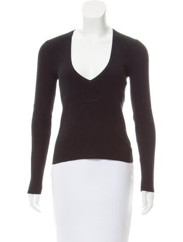 Michael Kors V-Neck Rib Knit Top None